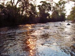 Low Sun reflecting of the Meander River, Meander.