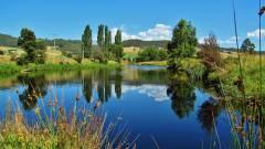 Glassy water, Leven River..JPG